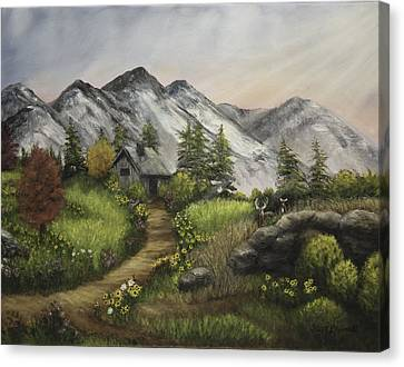 Sunset On The Mountain Cabin Canvas Print by Gail Darnell