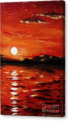 Sunset On The Sea Canvas Print by Muna Abdurrahman
