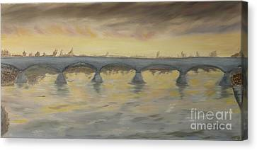 Sunset On The Ticino - Homage To Turner Canvas Print by Nicla Rossini