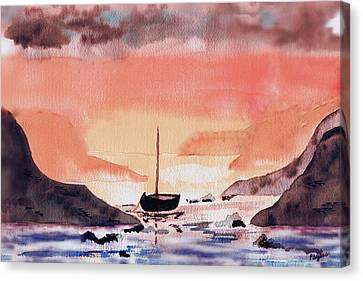 Canvas Print featuring the painting Sunset On The Water by Paula Ayers