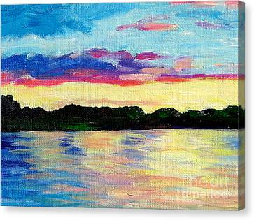 Sunset On Thornapple River Canvas Print by Lisa Dionne