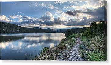 Sunset Over Barker Lake Canvas Print by Noah Katz