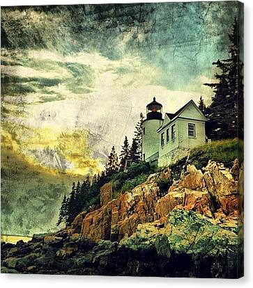Sunset Over Bass Harbor Lighthouse Canvas Print