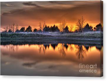 Sunset Over Bryzn Canvas Print by Art Whitton