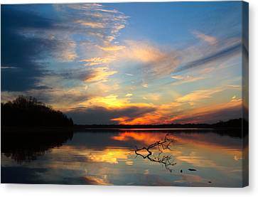 Canvas Print featuring the photograph Sunset Over Calm Lake by Daniel Reed