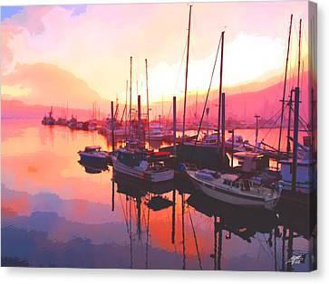 Sunset Over Harbor Canvas Print by Steve Huang