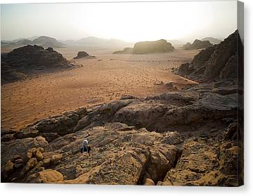 Sunset Over Jordan Wadi Rum Rock Canvas Print by Jason Jones Travel Photography