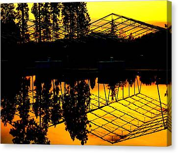 Canvas Print featuring the photograph Sunset Over Lake Coeur D Alene Docks by Cindy Wright