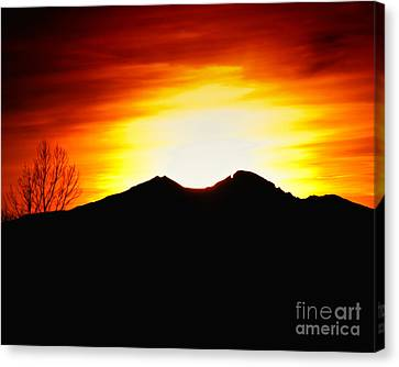 Sunset Over Longs Peak Canvas Print by Harry Strharsky