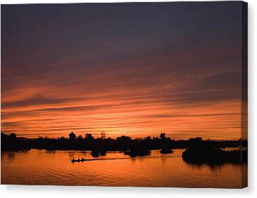 Sunset Over River Canvas Print by Axiom Photographic