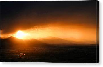 Sunset Over Salt Lake City Canvas Print by Kristin Elmquist