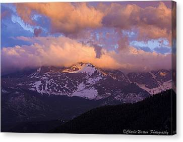 Sunset Over The Rockies Canvas Print by Charles Warren