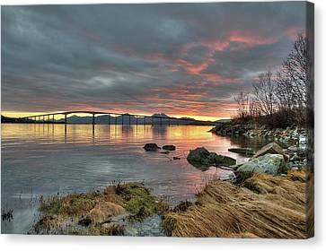 Sunset Reflecting Water,clouds, Sandnessund Bridge Canvas Print by Bernt Olsen
