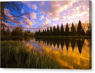 Sunset Reflection On A Pond, Portland Canvas Print by Craig Tuttle