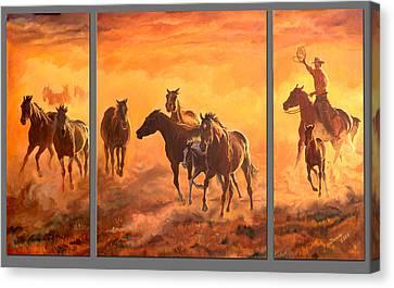 Sunset Run Triptych Canvas Print by Jana Goode