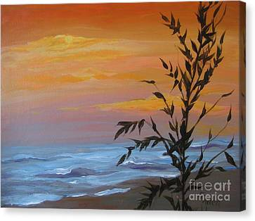 Canvas Print featuring the painting Sunset Sea Oats by Gretchen Allen
