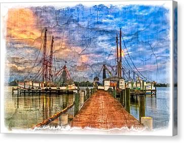 Sunset Shrimping II Canvas Print by Debra and Dave Vanderlaan