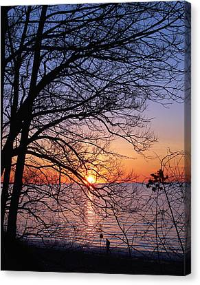 Sunset Silhouette 1 Canvas Print by Peter Chilelli