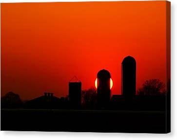 Sunset Silo Canvas Print by Cale Best