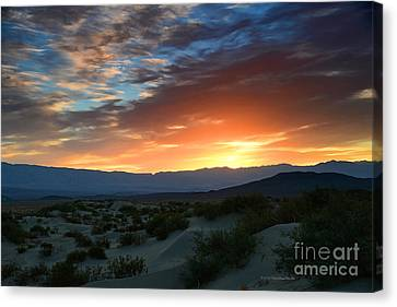 Sunset Sky Sand Dunes Death Valley National Park Canvas Print