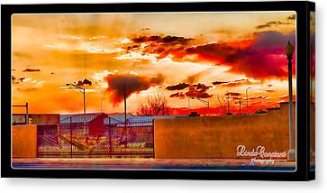 Canvas Print featuring the photograph Sunset Station by Linda Constant