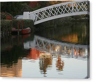 Sunset Stroll In The Canals Canvas Print by Rebecca Baker