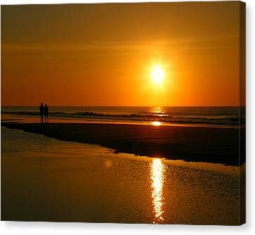 Canvas Print featuring the photograph Sunset Stroll by Mark J Seefeldt