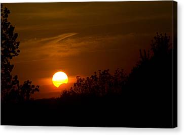 Canvas Print featuring the photograph Sunset Sun Eclipse by Nick Mares