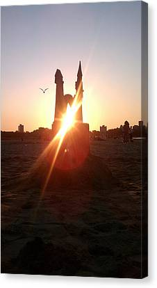 Canvas Print featuring the photograph Sunset Sunlit Sandcastle With Flying Bird On A Chicago Beach by M Zimmerman