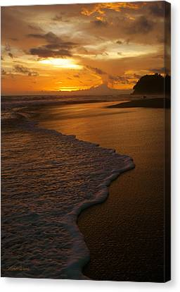 Sunset Surf Playa Hermosa Costa Rica Canvas Print by Michelle Wiarda