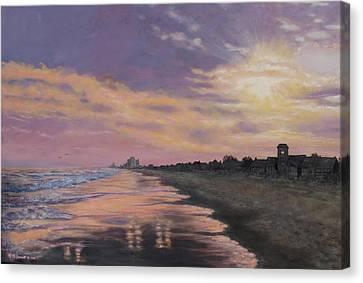 Sunset Surf Reflections Canvas Print by Kathleen McDermott