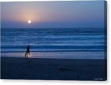 Sunset Surfer Canvas Print by Heidi Smith