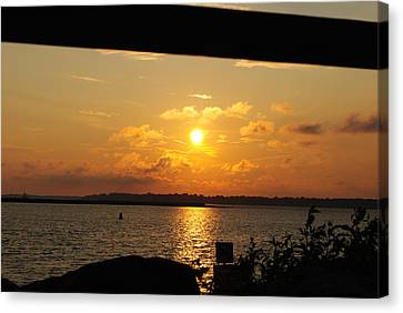 Canvas Print featuring the photograph Sunset Through The Rails by Michael Frank Jr
