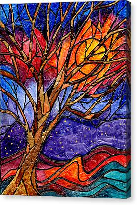 Sunset Tree Abstract Canvas Print by Elaine Hodges