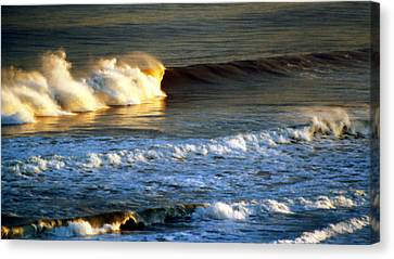 Canvas Print featuring the photograph Sunset Wave Rockaway Beach Nyc by Maureen E Ritter