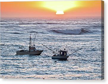 Sunset With Fishing Boats Canvas Print