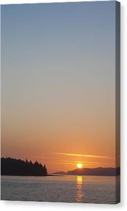 Sunset With The Mountains Of Vancouver Canvas Print by Taylor S. Kennedy