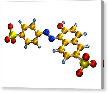 Sunset Yellow Food Colouring Molecule Canvas Print by Dr Mark J. Winter