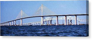 Florida Bridge Canvas Print - Sunshine Skyway Bridge II by Richard Rizzo