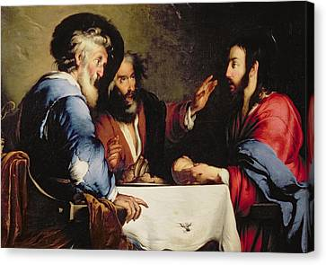 Supper At Emmaus Canvas Print by Bernardo Strozzi