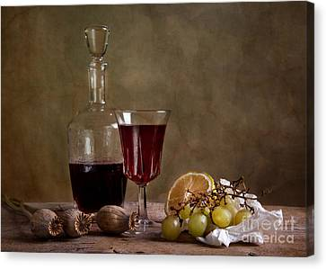 Flask Canvas Print - Supper With Wine by Nailia Schwarz