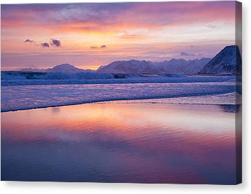 Surf And Sunset Canvas Print by Tim Grams
