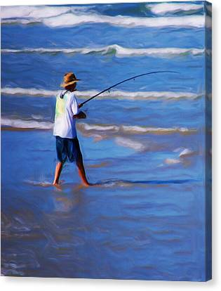 Surf Casting Canvas Print by David Lane