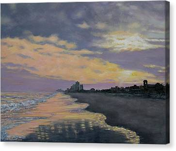 Surf Sunset Reflections Canvas Print by Kathleen McDermott