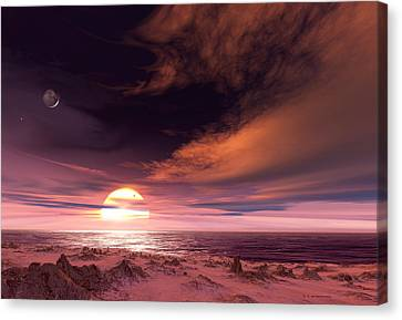 Gliese Canvas Print - Surface Of Extrasolar Planet Gliese 581c by Detlev Van Ravenswaay