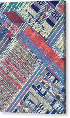 Surface Of Integrated Chip Canvas Print by Michael W. Davidson