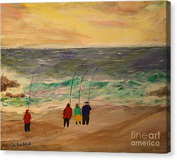 Surfcasters At Sunrise Canvas Print