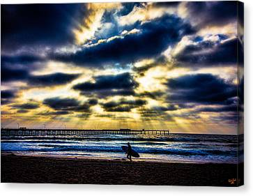 Surfer At Pacific Beach Canvas Print by Chris Lord