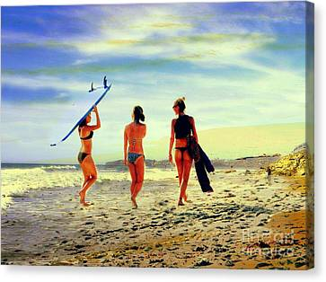 Surfer Girls  Canvas Print by Kevin Moore