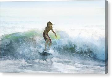 Surfer On A Morning Wave Canvas Print by Francesa Miller